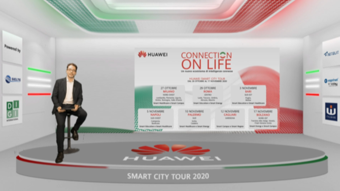 "Per Huawei Smart City Tour 2020 l'esperienza dell'evento ""fisico"" itinerante si fa digital con FMA Hub"