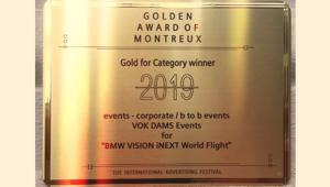 Vok Dams bags Gold at Golden Award of Montreux for Bmw iNEXT World Flight